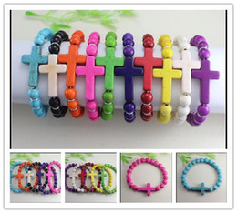Wholesale Stretch Bracelet Connectors - 10pcs lot 8mm Howlite Turquoise beads with Sideways Cross Connectors beads Stretch Bracelets Jewelry Findings