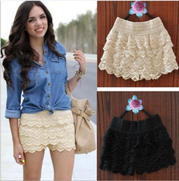 Wholesale Beige Lace Skirt - Womens Sweet Cute Crochet Lace Tiered Short Skirt higher quality Under Safety Pants layer upon layerpants 1 pieces lot