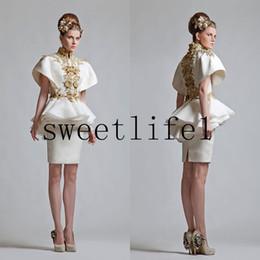 Wholesale Mini Evening Cocktail Dress Sleeve - 2015 Cocktail Dresses Short Knee Length Formal Dresses Gold Appliques Short Sleeves Ruffle Peplum Cheap Evening Dresses Sheath Homecoming