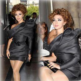 Wholesale Stretch Satin Shirts - 2016 Myriam Fares Evening Dresses Unique Design One Shoulder Single Sleeve Sheath Short Stretch Satin Celebrity Dresses