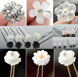 Wholesale Prom Hair Pins - New Bridal Hair Pins Stick Wedding Veil Prom Crystal Flower Hair Accessory[JH03006(20)-JH03011(20)]