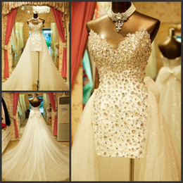 Wholesale Lace Sheath Wedding Dress Luxury - Luxury sweetheart High-Low wedding dresses beaded sleeveless column tulle sweep train lace-up bow bridal dresses wedding gowns