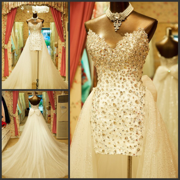 top popular Luxury sweetheart High-Low wedding dresses beaded sleeveless column tulle sweep train lace-up bow bridal dresses wedding gowns 2019