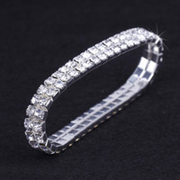 Wholesale stretchy rhinestone bracelets - 10pcs lot 2 Rows Wedding Rhinestone Austria CZ Bracelet New Crystal Bride Stretchy Bangle Wristband Fashion Bracelet ZAU2*10