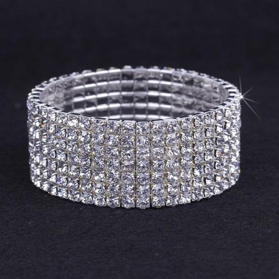10pcs 7 Rows Hot Sale! Austria CZ Rhinestone Bracelet Crystal Elastic Bangle Wristband Bracelet For Wedding Party Dress ZAU7*10