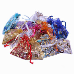 Organza vOile gift packaging bags online shopping - 500pcs Patterns Luxury Organza Jewelry Bags Christmas Wedding Voile Gift Bag Drawstring Jewelry Packaging Gift Pouch cm XES2