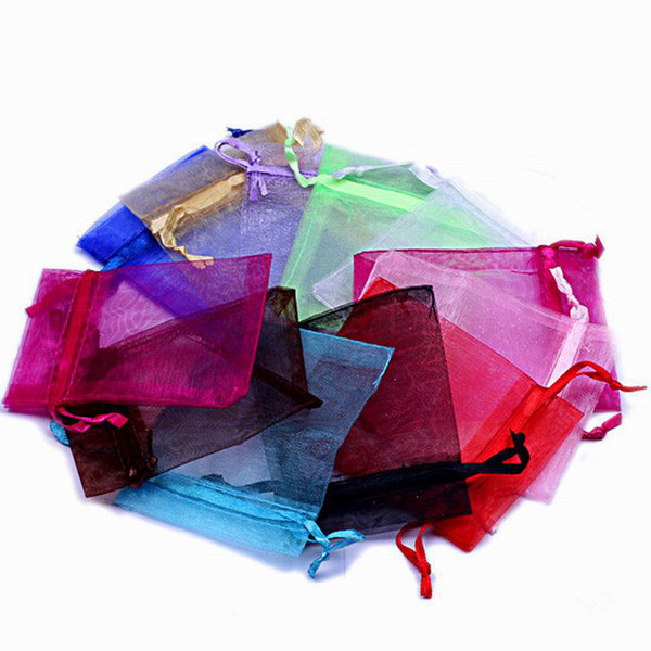 500pcs Solid Multi-Color Organza Jewelry Bags Luxury Wedding Voile Gift Bag Drawstring Jewelry Packaging Christmas Gift Pouch 9*12cm