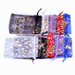 Wholesale Sheer Jewelry Pouches - 500pcs Flower Pattern Sheer Organza Wedding Candy Bag Wedding Gift Bag Drawstring Jewelry Packaging Christmas Gift Pouch 9*12cm