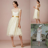 Wholesale Sexy Crown - 2014 New Design Wedding Dresses With Crew Sash A Line Ankle-Length Lace Backless Ivory Vintage Bridal Gowns Hot Customed Buy 1 Get 1 Crown