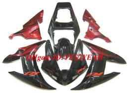 Yamaha yzf body kit online-Kit de cuerpo de carenado para YAMAHA YZFR1 YZF R1 2002 2003 YZF-R1 YZF1000 R1 02 03 rojo negro Carenado de motos carrocería + regalos YA23