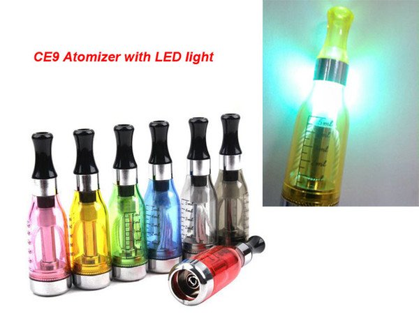 New arrival 5ml Capacity CE9 D5 Atomizers with LED light for Electronic Cigarette eGo Series fit 510/ego ego t battery