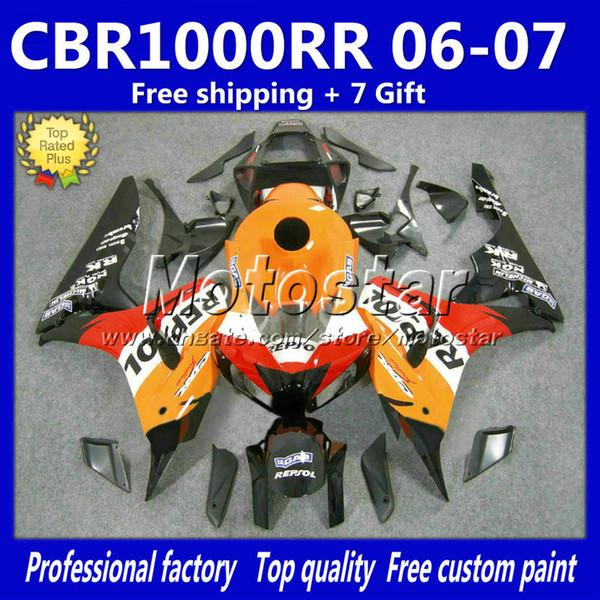 ABS fairing body kit for HONDA CBR1000RR 2006 2007 orange black REPSOL fairings bodywork set CBR 1000 RR 06 CBR1000 07+7 Gifts fQ8
