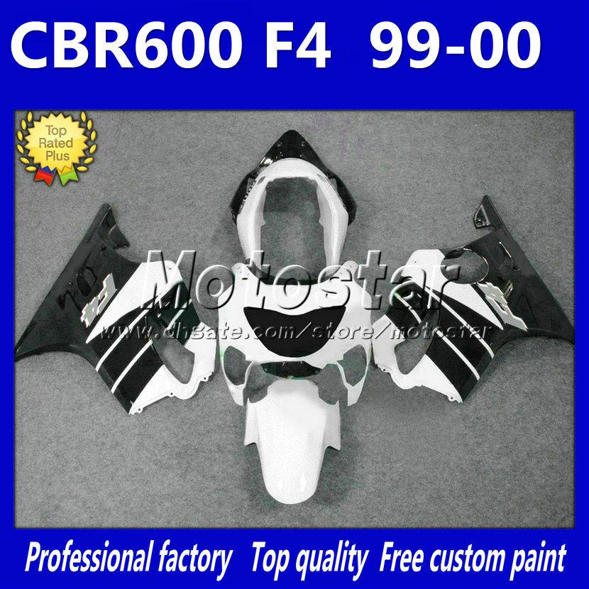 7Gifts white black fairings bodywork set for HONDA CBR 600 CBR600 F4 99 00 CBR600F4 1999 2000 new aftermarket fairing kit