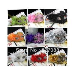 Wholesale - free shipping Lace feather mask with flowers halloween masks masquerade costume mask FESTIVALPARTY wedding dress
