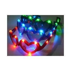 Wholesale - free shipping Plastic Purple LED Sunglasses Glow Light Heart Glasses toys