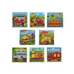 Wholesale - FREE SHIPPING EMS 9 wooden puzzles jigsaw puzzle series of children`s toys traffic puzzle educational toys Jigsaw