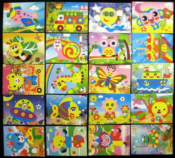 F101 20pcs/set 170mmx126mm 3D EVA Puzzle Stickers Handmade Cartoon Cards Crafts Early Educational Toys Christmas gift DIY