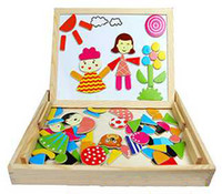 Wholesale Wooden Easels - Multifunctional Magnetic Wooden Puzzle Fantastic Easel Parent Child Double Faced Drawing Board Kids Toy Baby, 3 4 5 years old