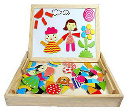 Wholesale Magnetic Drawing Toy - Multifunctional Magnetic Wooden Puzzle Fantastic Easel Parent Child Double Faced Drawing Board Kids Toy Baby, 3 4 5 years old