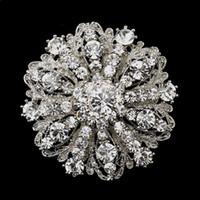 klasik gümüş yapay elmas broş toptan satış-2 Inç Vintage Stil Rodyum Gümüş Ton Kadınlar için Büyük Boy Çiçek Rhinestone Diamante Kristal Broş
