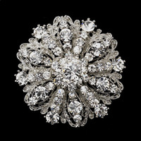 Wholesale Large Brooches Wholesale - 2 Inch Vintage Style Rhodium Silver Tone Large Size Flower Rhinestone Diamante Crystal Brooch for Women