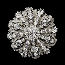Wholesale Crystal Diamante - 2 Inch Vintage Style Rhodium Silver Tone Large Size Flower Rhinestone Diamante Crystal Brooch for Women