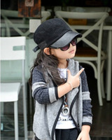Wholesale Girls Crochet Coat - Wholesale Girls' Crochet Cardigan Baby girl Gray Crochet Jacket Big Lapel coat outwear girls' outwear jacket cardigan clothing