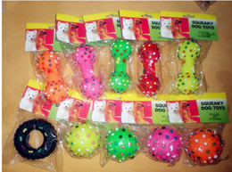 Wholesale Rubber Pet Toys - dogs dog shop pet suppliesNew Pet Dog Cat Puppy Colorful Sound Polka Dot Squeaky Rubber Bone Chewing Toys Free shipping
