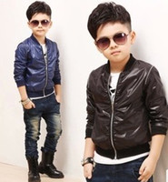 Wholesale Children Winter Leather Jackets - Wholesale Kids Leather Jackets Casual Coat Children Outwear Fashion Color Hooded Jacket Long Sleeve Tops Boys Coats Kids Hoodies Clothing