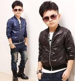 Wholesale Boys Kids Leather Jackets - Wholesale Kids Leather Jackets Casual Coat Children Outwear Fashion Color Hooded Jacket Long Sleeve Tops Boys Coats Kids Hoodies Clothing