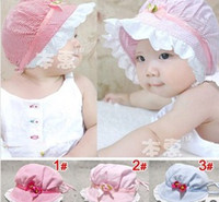Wholesale Newborn Red Baby Cap - Wholesale - baby a flower cap infant lovely sunhat princess hat boys and girls 3 color leisure Caps