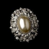 elfenbein antiquitäten großhandel-Vintage Style Antik Silber Oval Diamant Elfenbein Perle Brosche