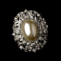 Wholesale Antique Brooch Pearls - Vintage Style Antique Silver Oval Diamond Ivory Pearl Brooch