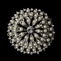 "Wholesale Wholesale Decorating Wedding Pearls - 2.1"" Wedding Cake Flower Pearl Decorated Brooch Rhodium Silver Plated"