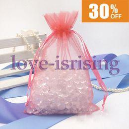"""Canada Livraison gratuite-100pcs Corail 10cm * 15cm (4 """"x6"""") pure sac en organza Sac cadeau de faveur de mariage, pochette en organza Offre"""