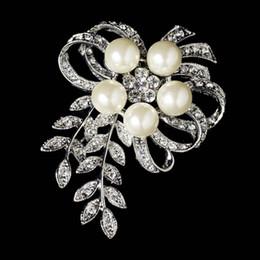 Wholesale Silver Vine - Rhodium Silver Rhinestone & Diamond White Pearl Vintage Vine Bouquet Bridal Brooch