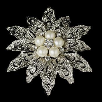 Vintage look Rhodium Silver Plated Large Leaf Design Brooch Wedding Cake