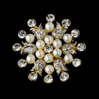 Wholesale Rhinestone Floral Pearl Brooch - Gold Plated Ivory Pearl and Rhinestone Crystal Beautiful floral brooch