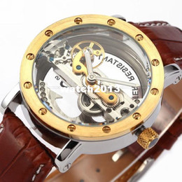 Wholesale Watch Skeleton Rectangle Men - GIFT BOX + Mens Automatic mechanical Skeleton watches men original Watch