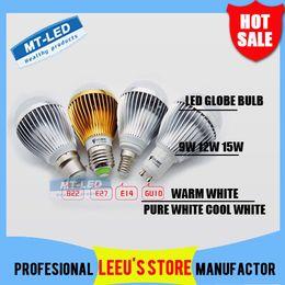 Wholesale E27 Dimmable Led 15w Globe - X20 DHL FREE SHIPPING High power Cree 9W 15W Dimmable Led globe Bulb E27 GU10 B22 85-265V LED Bubble ball lamp led light spotlight downlight