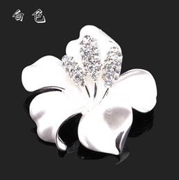 White Flower Brooches Canada - Elegant Silver Plated Rhinestone Crystal Diamante White Narcissus Flower Party Brooch