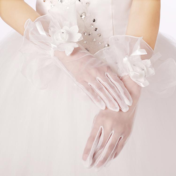 女性の正式なProm Glove Ivoryのための手首の花ブライダルグローブの結婚式の手袋を持つ美しい短いチュール