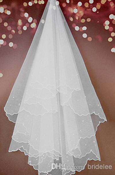 2020 Hot Style Günstige 2 T Weiß Elfenbein Hochzeit Braut Perlen Band Rand Kamm Schleier Brautschleier