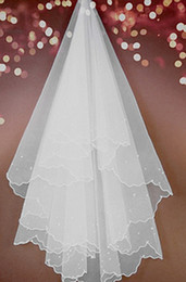 Wholesale Ivory 2t Veil Comb - 2014 Hot Style Cheap 2T White Ivory Wedding Bridal Pearls Ribbon Edge Comb Veil Bridal Veils