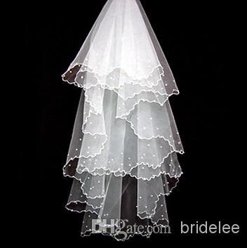 Envío gratis! En stock 2020 3T Beads Soft touch Illusion ribbon edge length de cintura Velos de novia