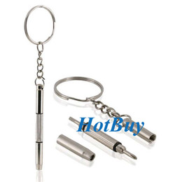 Eyeglass Repair Keychain Canada - Mini 3 in1 Keychain Screwdriver Mobile Eyeglass Sunglasses Watch Repair Kit Tool #2360