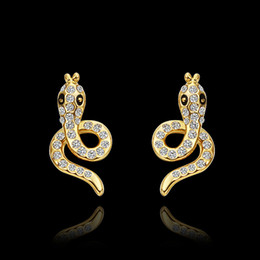 Wholesale Earring Snake 18k - Top quality 18K gold plated Austrian crystal snake stud earring fashion party jewelry Christmas gift free shipping 10pair lot