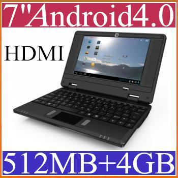 top popular DHL Cheap 7 inch Laptop with Camera HDMI Android 4.0 VIA 8850 Cortex A9 512MB 4GB Netbook JB07-1 2019