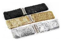 Wholesale Black Gold Wide Belt - 7cm wide gold+black+silver dress belts for Women Metallic Sequin shine Lady Cummerbund elastic belt fits small and big waist