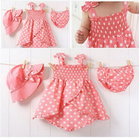 Wholesale Kids Sun Dresses - Summer baby girl surf clothing to suit kids girls beach sun hat little dress set 3-pcs